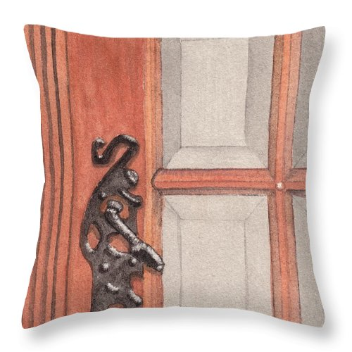 Handle Throw Pillow featuring the painting Ornate Door Handle by Ken Powers