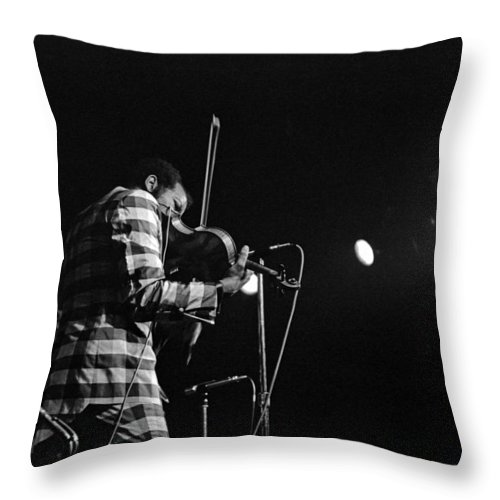 Ornette Coleman Throw Pillow featuring the photograph Ornette Coleman On Violin by Lee Santa