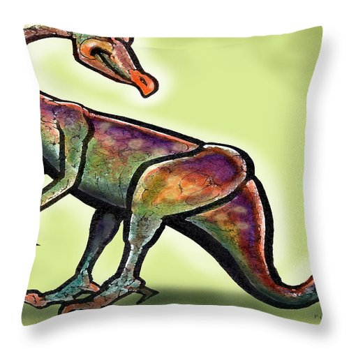 Ornithomimus Throw Pillow featuring the painting Ornithomimus by Kevin Middleton