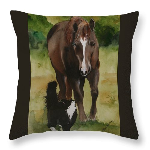 Horse Throw Pillow featuring the painting Oscar and Friend by Jean Blackmer