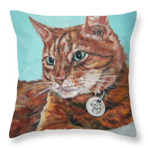 Cat Throw Pillow featuring the painting Oscar by Bryan Bustard