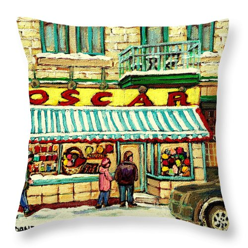 Oscar's Candy Store Montreal Throw Pillow featuring the painting Oscar 's Candy Store Montreal by Carole Spandau