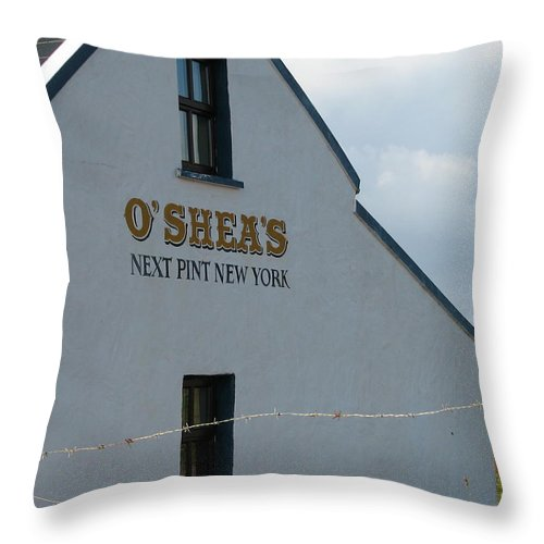 Pub Throw Pillow featuring the photograph O'shea's by Kelly Mezzapelle