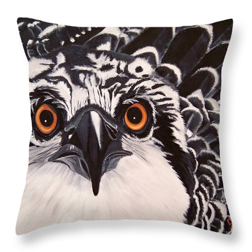 Osprey Throw Pillow featuring the painting Osprey Eyes by Debbie LaFrance