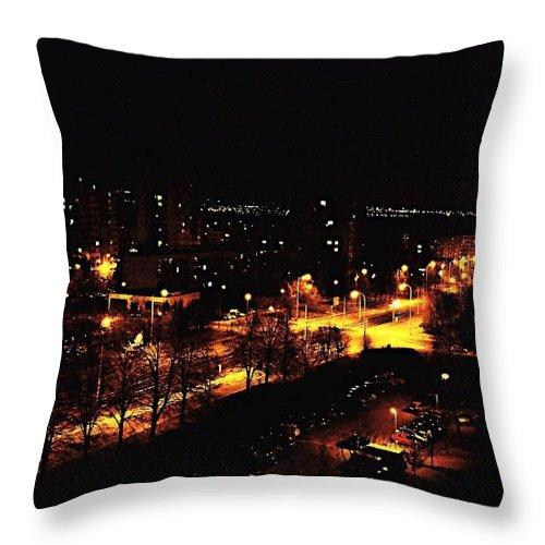 Czech Throw Pillow featuring the photograph Ostrava At Night by Ladislav Miczek