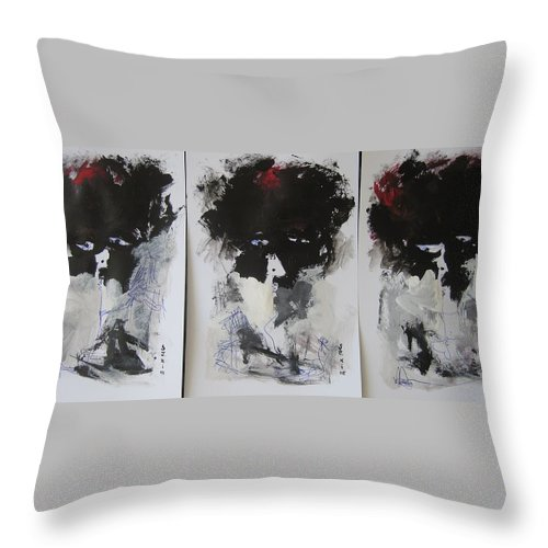 Original Throw Pillow featuring the painting Other Than 3 by Seon-Jeong Kim