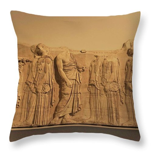 Sculpture Throw Pillow featuring the photograph Other Treasures Of The Louvres - 4 by Hany J