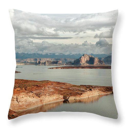 Southwest Throw Pillow featuring the photograph Otherworldly Morning At Lake Powell by Sandra Bronstein