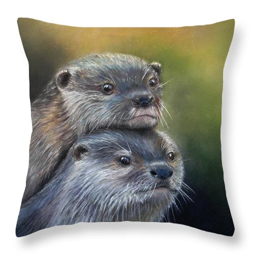 River Otter Throw Pillow featuring the painting Otter Be Two by Ceci Watson