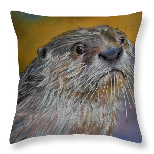 River Otter Throw Pillow featuring the painting Otter Or Not by Ceci Watson