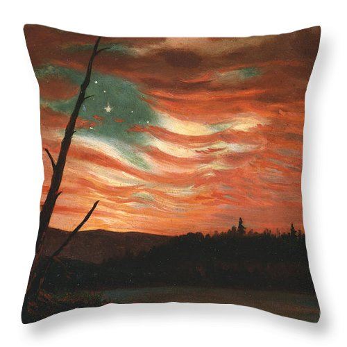 Our Throw Pillow featuring the painting Our Banner In The Sky by Frederic Edwin Church