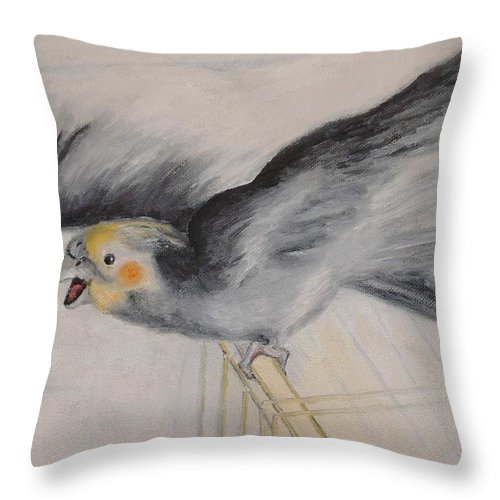 Cockatiel.pet Throw Pillow featuring the painting our cockatiel Coco by Helmut Rottler