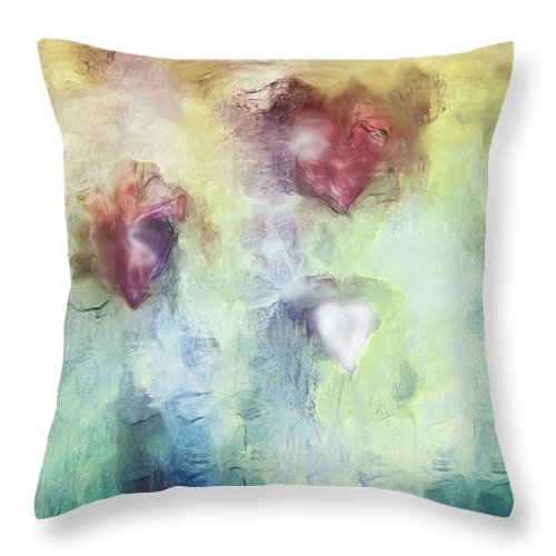 Our Hearts Throw Pillow featuring the digital art Our Hearts by Linda Sannuti