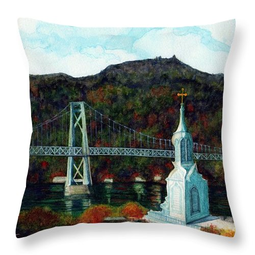 Bridge Throw Pillow featuring the painting Our Lady Of Mt Carmel Church Steeple - Poughkeepsie Ny by Janine Riley