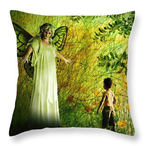 Angel Throw Pillow featuring the painting Our Lady Of The Meadow by Van Renselar