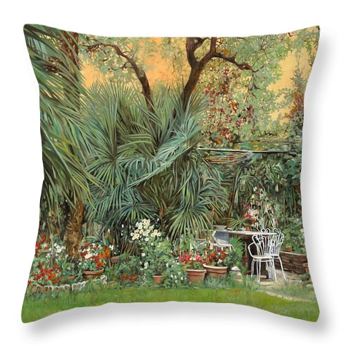 Garden Throw Pillow featuring the painting Our Little Garden by Guido Borelli