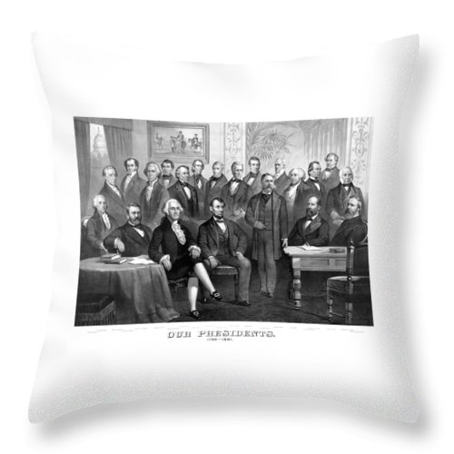 Us Presidents Throw Pillow featuring the painting Our Presidents 1789-1881 by War Is Hell Store