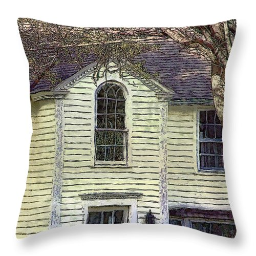 House Throw Pillow featuring the painting Our Town's Witch House by RC DeWinter