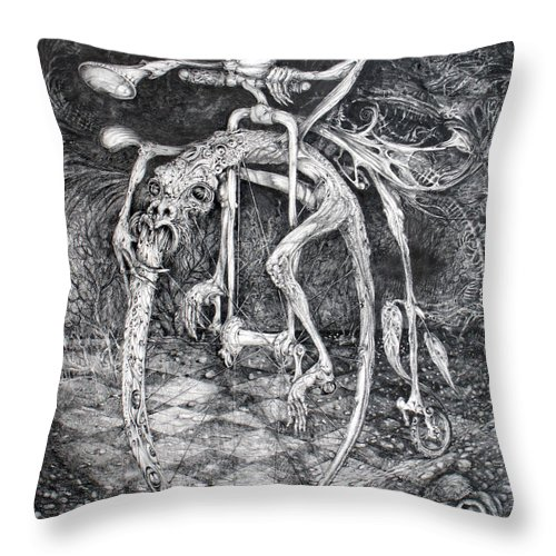 Ouroboros Throw Pillow featuring the drawing Ouroboros Perpetual Motion Machine by Otto Rapp