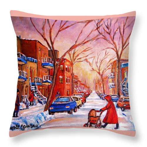 Montreal Throw Pillow featuring the painting Out For A Walk With Mom by Carole Spandau