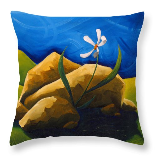 Landscape Throw Pillow featuring the painting Out From Under A Rock by Richard Hoedl