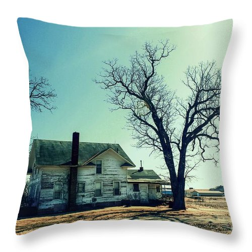 Abandoned House. Throw Pillow featuring the photograph Out In The Open by Lowell Stevens