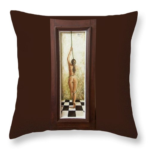 Figurative Throw Pillow featuring the painting Out Of Chess by Natalia Tejera