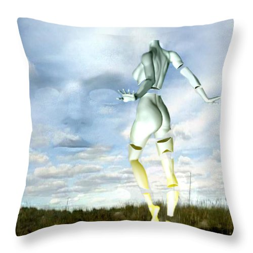 Sky Naked Woman Surreal Dance Throw Pillow featuring the digital art Out Of My Mind... by Veronica Jackson