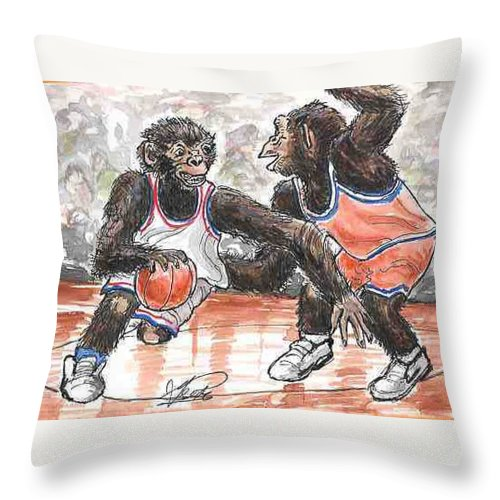Basketball Throw Pillow featuring the painting Out Of My Way by George I Perez