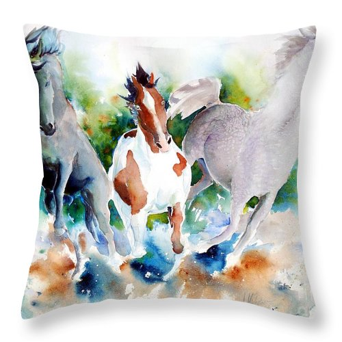 Horses Throw Pillow featuring the painting Out Of Nowhere by Christie Martin