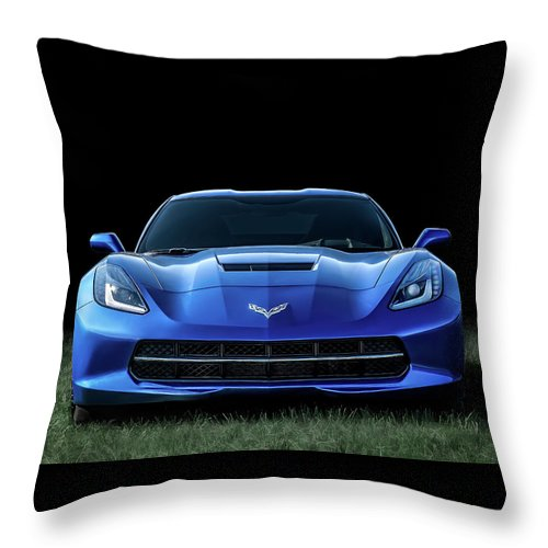 Corvette Throw Pillow featuring the digital art Blue 2013 Corvette by Douglas Pittman