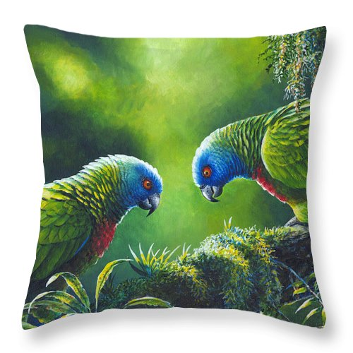 Chris Cox Throw Pillow featuring the painting Out On A Limb - St. Lucia Parrots by Christopher Cox