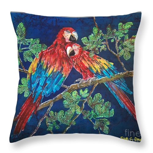 Parrots Throw Pillow featuring the painting Out On A Limb- Macaws Parrots - Bordered by Sue Duda