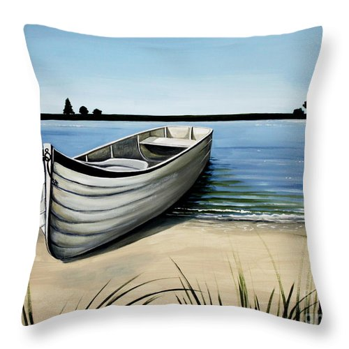 Boat Throw Pillow featuring the painting Out On The Water by Elizabeth Robinette Tyndall