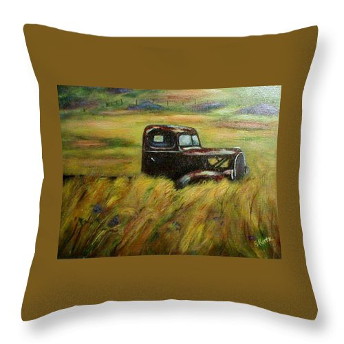 Vintage Truck Throw Pillow featuring the painting Out To Pasture by Gail Kirtz