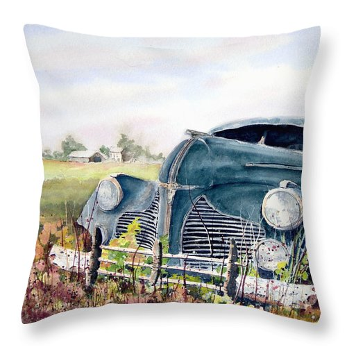 Classic Car Throw Pillow featuring the painting Out To Pasture by Sam Sidders