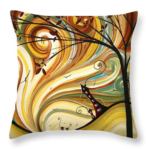 Art Throw Pillow featuring the painting OUT WEST Original MADART Painting by Megan Duncanson