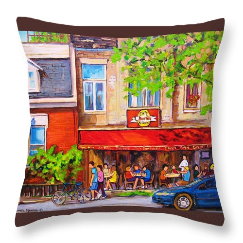 Montreal Throw Pillow featuring the painting Outdoor Cafe by Carole Spandau