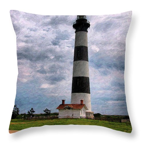 Lighthouse Throw Pillow featuring the photograph Outer Banks Beach Lighhouse by Randy Steele