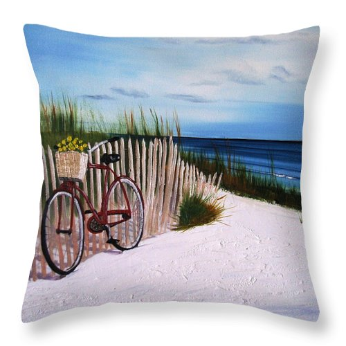 Beach Throw Pillow featuring the painting Outer Banks Beach by Maria Mills