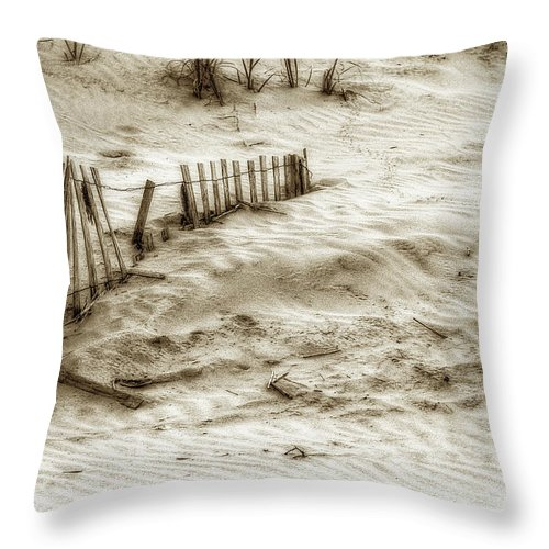 Sand Throw Pillow featuring the photograph Outer Banks Beach Sand Fence by Randy Steele