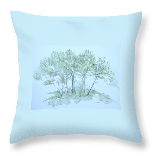 Trees Throw Pillow featuring the painting Outer Banks by Leah Tomaino