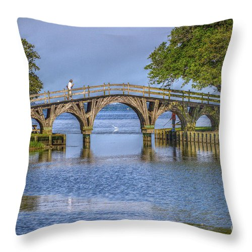 Summer Throw Pillow featuring the photograph Outer Banks Whalehead Club Bridge by Randy Steele