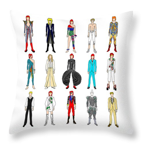 Bowie Throw Pillow featuring the digital art Outfits Of Bowie by Notsniw Art