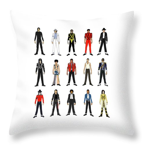 Michael Jackson Throw Pillow featuring the digital art Outfits of Michael Jackson by Notsniw Art