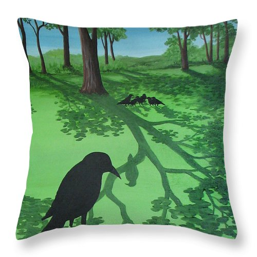 Blackbirds Crows Murder Shadow Green Blue Throw Pillow featuring the painting Outgoing Introvert by Beth Waltz