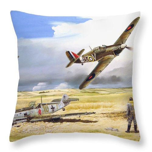 Painting Throw Pillow featuring the painting Outgunned by Marc Stewart