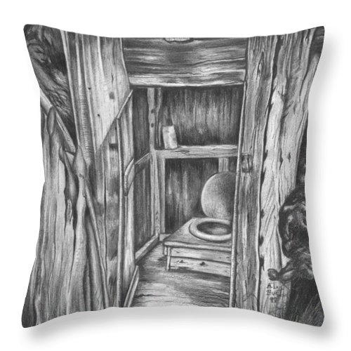 Landscape Throw Pillow featuring the drawing Outhouse by Anthony Hurt