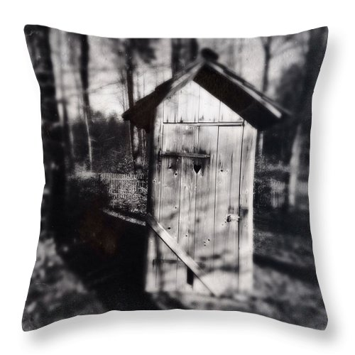 Outhouse Throw Pillow featuring the photograph Outhouse Black And White Wetplate by Matthias Hauser