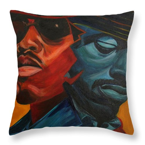 Big Boi Throw Pillow featuring the painting Outkast by Kate Fortin